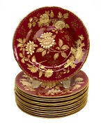 12 Wedgwood England Porcelain 8 Inch Dessert Plates In Tonquin Ruby Circa 1930