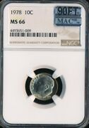 1978 Roosevelt Dime Ngc Mac Ms66 90ft Finest Grade 6000.00 For A Ft