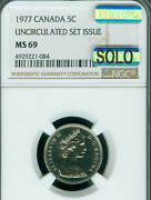 1977 Canada 5 Cents Ngc Ms69 Pq Mac Solo Finest Grade And Spotless Rare ..