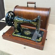 Antique Singer 28 28k Hand-crank Sewing Machine With Bentwood Case And Scrolls