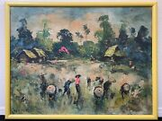 🔥 Rare Antique Mid Century Modern Asian China Vietnamese Oil Painting - Le Minh