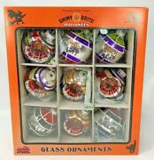 Radko Shiny Brite Halloween Glass Ball Ornaments W/ Sayings Indents 9 Pc Boxed