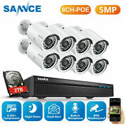 Sannce 8ch Nvr Poe 5mp Audio Monitoring Security Camera System Night Vision 2tb