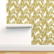 Removable Water-activated Wallpaper Palm Leaves Summer Tropical Gold Effect