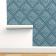 Removable Water-activated Wallpaper Blue Farmhouse Diamonds Clean Geometric