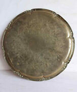 Vintage Large 28 Sm. Solid Brass Etched Round Table Tray Hanging Scalloped Edge