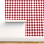 Removable Water-activated Wallpaper Red White Squares Gingham Vichy Buffalo