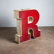 Mid Century Modern Neon Sign Lamp Marquee Letter R Working Large 48 Light Wall