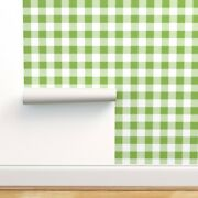 Removable Water-activated Wallpaper Squares White Gingham Vichy Buffalo Tavern