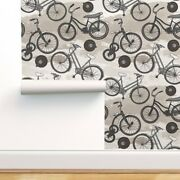 Removable Water-activated Wallpaper Vintage Black And White Bicycles Antique