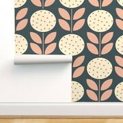 Removable Water-activated Wallpaper Vintage Posie Flowers Floral Pink Navy Brown