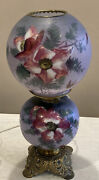 Antique Electric Converted Oil Lamp Table Gone With The Wind Hand Painted Globe