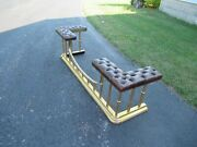 Vintage Brass Club Fireplace Fender With Leather Padded Tufted Seats