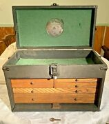 Vintage Union Gerstner Wood And Leather Machinist Tool Die Maker Box Chest Us