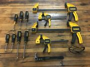 Dewalt 4 Large Clamp Set Lot With 7 Screwdrivers Pry Bar And Safety Glasses