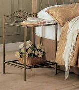 Metal Nightstand End Side Table Antique Gold Finish Glass Tabletop Bedroom Decor