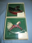 1982 And 1983 Hallmark Ornament Black Red Rocking Horse 2nd And 3rd In Series