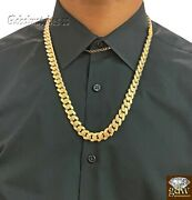 10k Real Gold Men Miami Cuban Royal Monaco Link Chain 22 Inch 15mm Gold Thick