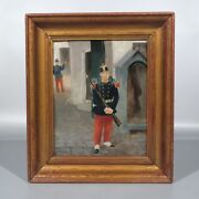 Antique French Oil Painting French Infantry Soldiers Uniform Rifle Trumpet 19thc