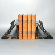 Pair Or Vintage French Bronze And Marble Bookends Foxes Fox