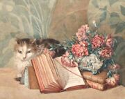 Antique French Watercolor Cat Books Music Score Bouquet Of Flowers Signed 1894