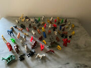 Vintage Lot Of 73 Plastic Miniature Zoo Dinosaurs Animals Assorted Hong Kong