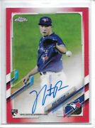 2021 Topps Chrome Nate Pearson Red Refractor Auto Rookie Rc Sp 1/5 Blue Jays