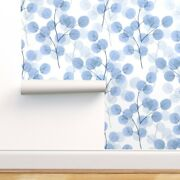Wallpaper Roll Blue Watercolor Floral Abstract Branch Leaves 24in X 27ft