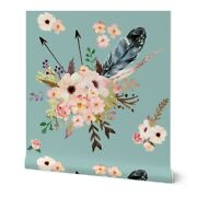 Wallpaper Roll Bohemian Floral Feather Arrows And On Blue Flower 24in X 27ft