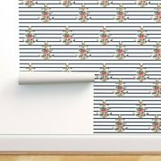 Wallpaper Roll Anchor Stripes Floral Pink Blue Summer Nautical 24in X 27ft