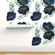 Wallpaper Roll Blueberry Florals Watercolor Wedding Blue Floral 24in X 27ft