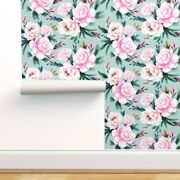 Wallpaper Roll Pink Blue Floral Flower Vintage Turquoise 24in X 27ft