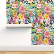 Wallpaper Roll Autumn Floral Flower Dark Blue Painted Flowers 24in X 27ft