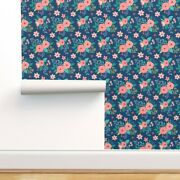 Wallpaper Roll Blue Floral Navy Flowers Roses Summer Spring Wedding 24in X 27ft