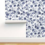 Wallpaper Roll Blue Watercolor Floral Indigo Navy Womens 24in X 27ft