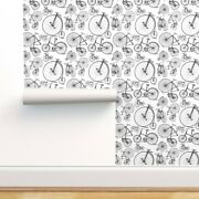 Wallpaper Roll Bicycle Bicycles Black White Vintage Kids Antique 24in X 27ft