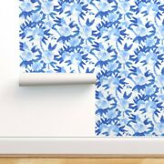 Wallpaper Roll Chinoiserie Blue Watercolor Floral And White Chintz 24in X 27ft
