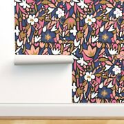 Wallpaper Roll Terrazzo Floral Blue Blush Modern Decor Collage 24in X 27ft