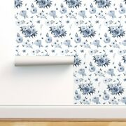 Wallpaper Roll Blue White Flowers Roses Peonies Floral 24in X 27ft