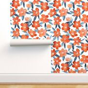 Wallpaper Roll Floral Orange Blue Bold Tangerine Painted 24in X 27ft
