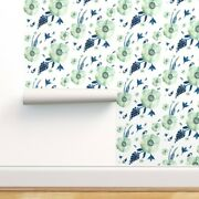 Wallpaper Roll Navy Blue Shabby Chic Floral Flowers Watercolor 24in X 27ft