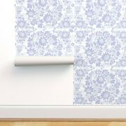 Wallpaper Roll Blue Violet White Floral Cottage Chic And Swedish 24in X 27ft