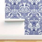 Wallpaper Roll Damask Blue White Parrot Bird Rococo Ornate Floral 24in X 27ft