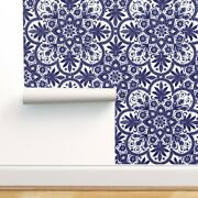 Wallpaper Roll Tile Blue White Floral Indian Snowflake Colonial 24in X 27ft