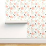 Wallpaper Roll Shabby Chic Floral Baby Girl Blush Pink Blue Nursery 24in X 27ft