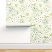 Wallpaper Roll Floral Hand Drawn Illustrated Garden Green Pink Blue 24in X 27ft