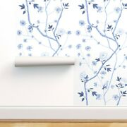 Wallpaper Roll Chinoiserie Floral Flowers Blue Butterflies Peonies 24in X 27ft