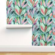 Wallpaper Roll Feathers Watercolor Boho Mint Coral Green Leaves 24in X 27ft