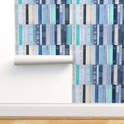 Peel-and-stick Removable Wallpaper Blue Books Library Book Worm Covers Novels