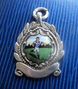 Attractive Sterling Silver And Enamel Football Fob Medal H/m 1948 Chester